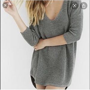 Express Sweaters - Express Gray V Neck Dolman Sleeve Sweater NWT S
